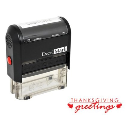Thanksgiving Rubber Stamp - Thanksgiving Greetings - Red Ink