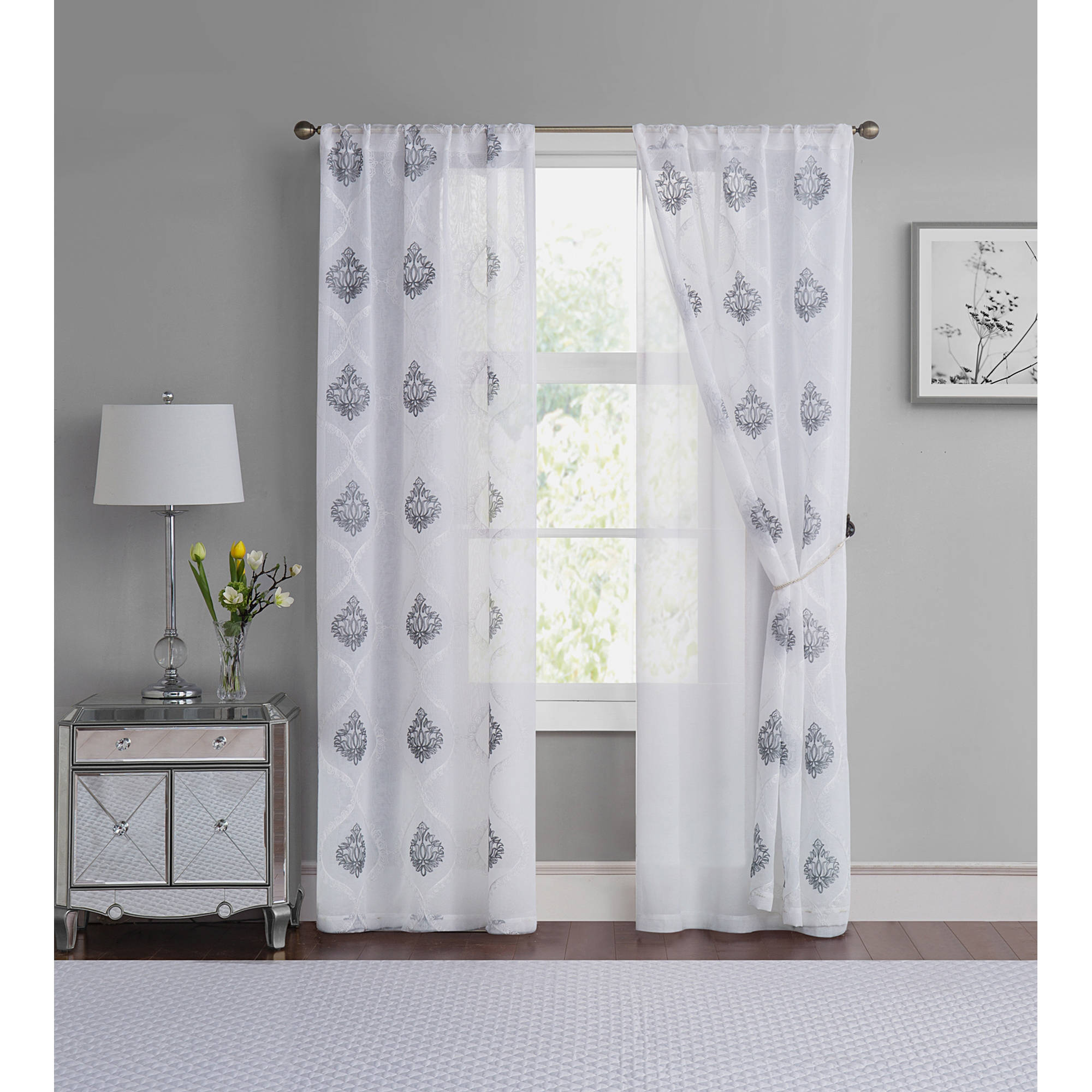 VCNY Home Jade Embroidered Damask 4-Pack Rod Pocket Window Curtain Panels, Multiple Sizes Available