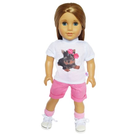 My Brittany's Yorkie Top and Shorts Compatible with American Girl Dolls and My Life as Dolls- 18 Inch Doll Clothes (American Girl Dolls)