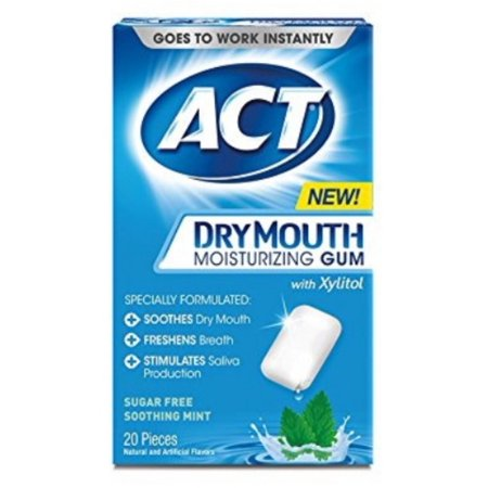 4 Pack - ACT Dry Mouth Moisturizing Gum, Sugar-Free Soothing Mint,  20 ea ()