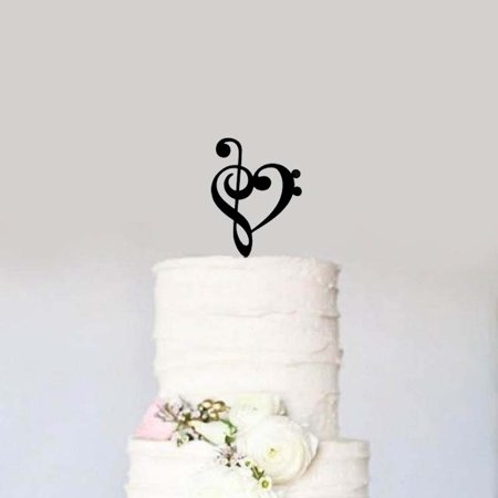 Black Treble Bass Clef Heart Wedding Cake Topper Music Heart Wedding Cake Topper Music Notes Wedding Acrylic Musician Birthday Cake
