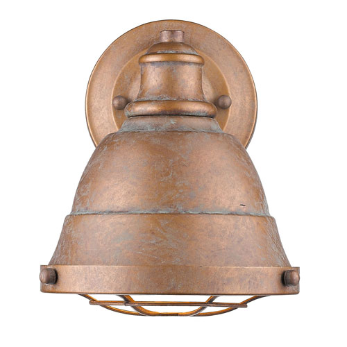 Fulton Copper Patina 7-Inch One-Light Bath Vanity with Copper Patina Shade by