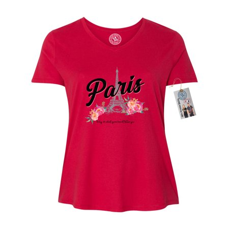 Paris Tower Flower Vacation Summer Plus Size Womens V-Neck Shirt Top (Paris Women Apparel Retail)