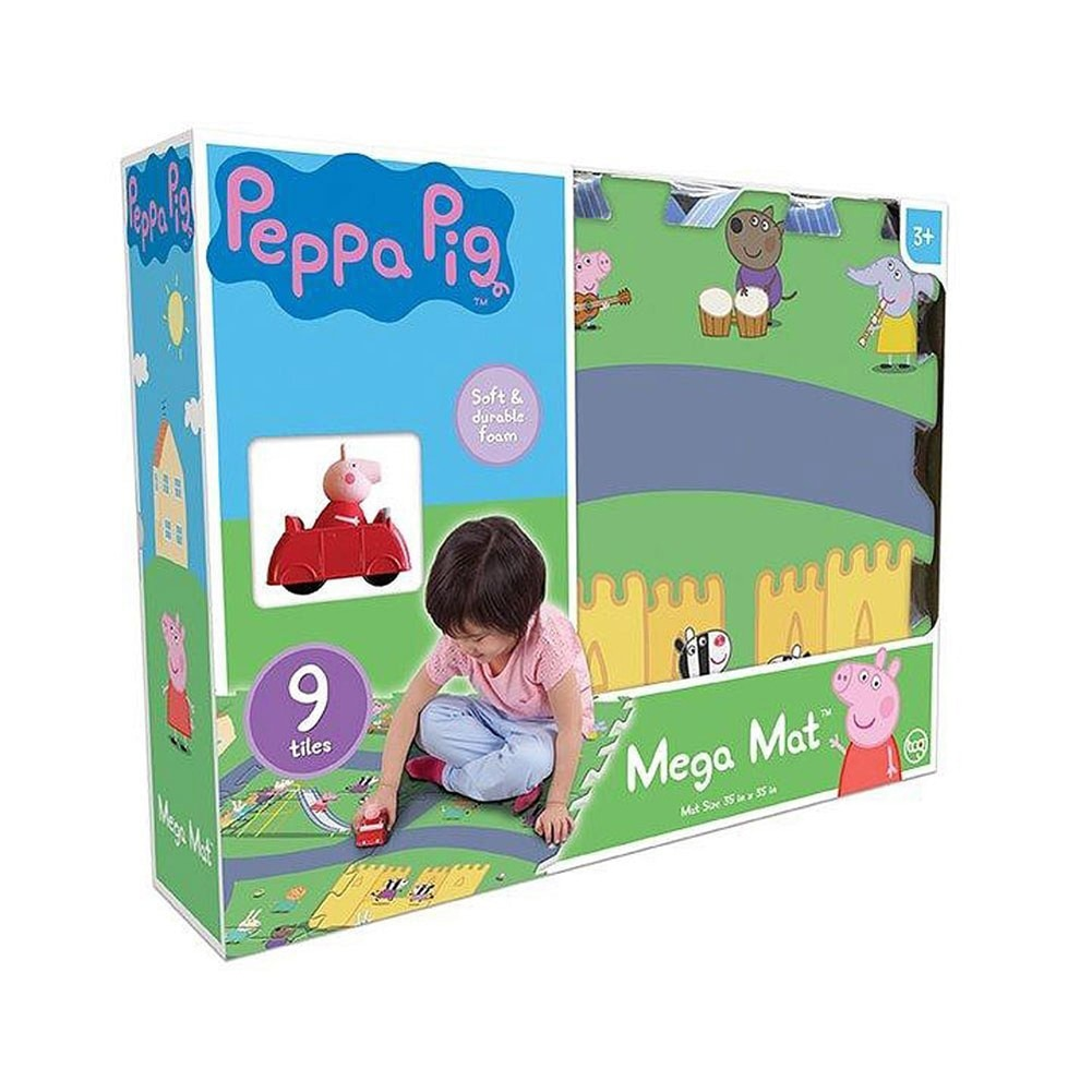 JamN' Products - 6 Piece Tile Mega Floor Mat with Vehicle, Peppa Pig