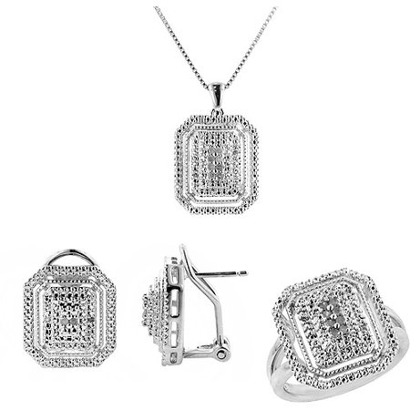 Birthstone Ring Pendants (1/4 Carat T.W. Round White Diamond Rhodium Plated Cluster Ring, Earrings and Pendant Set, 18