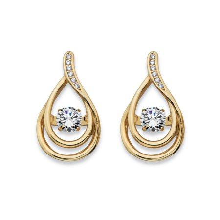 Double Teardrop Earrings - Round CZ in Motion Cubic Zirconia Double Teardrop Drop Earrings .76 TCW in 14k Gold over Sterling Silver