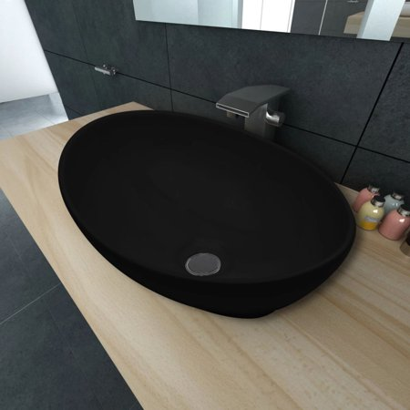 Oval-shaped Ceramic Vessel Sink, Vanity Sink, Above Counter White Countertop Sink, Art Basin Wash Basin for Lavatory Vanity Cabinet - 3/4 Countertop Vanity Basin