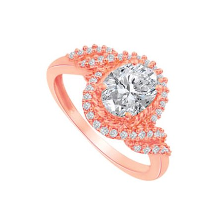 CZ Swirl Design Ring in 14K Rose Gold Vermeil - image 1 de 2
