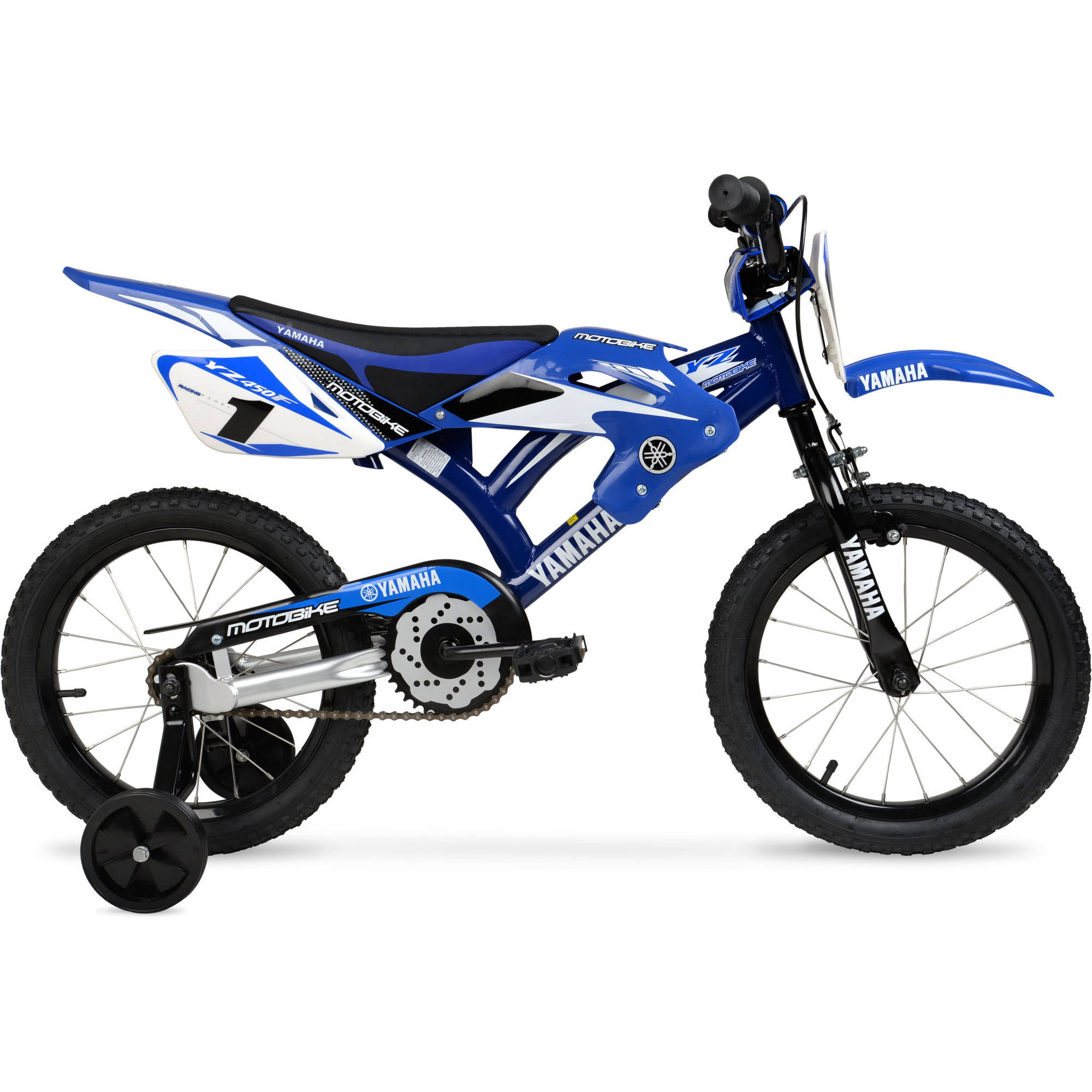 16 moto yamaha boys bmx motocross style bike blue steel. Black Bedroom Furniture Sets. Home Design Ideas