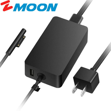 Zmoon A1706 65W Charger for Microsoft Surface Pro6 2018, Pro 3 Pro 4 Surface Laptop Book Pro 5 2017, 15V 4A AC Adapter with USB Charging Port 6Ft Power Cord 15v Ac 120w Ac Adapter