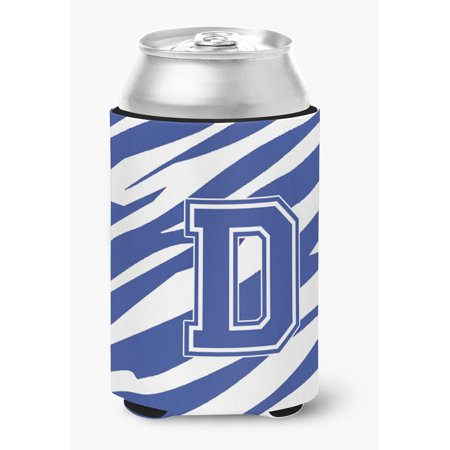 Letter D Initial Monogram - Tiger Stripe Blue and White Can Beverage Insulator (Stripe Beverage)