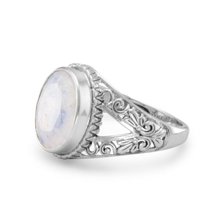 Rainbow Moonstone Ring with Scroll Design Split Band Antiqued Sterling Silver Iolite Moonstone Ring