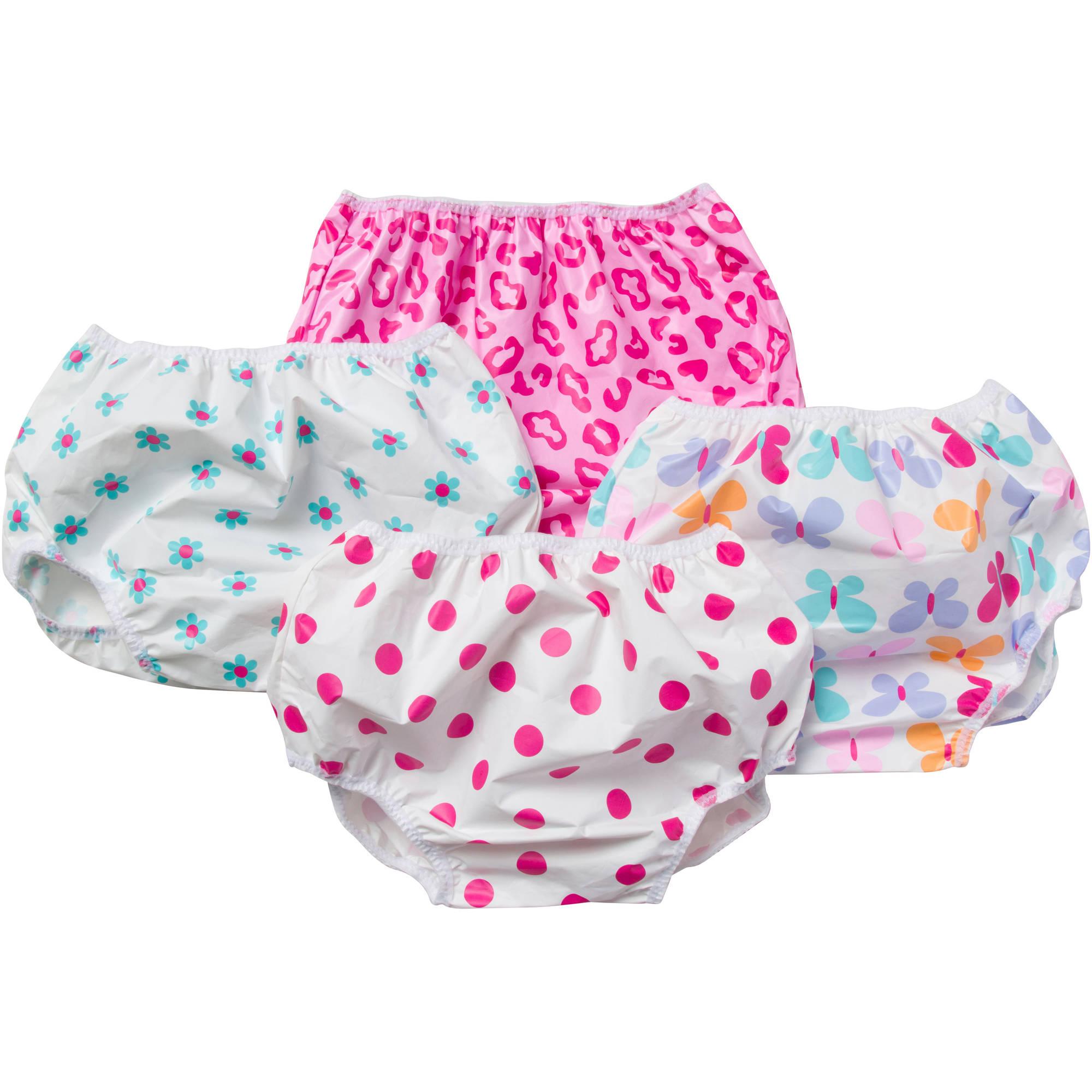 Gerber Baby Toddler Girl Pink Waterproof Pants, 4-Pack