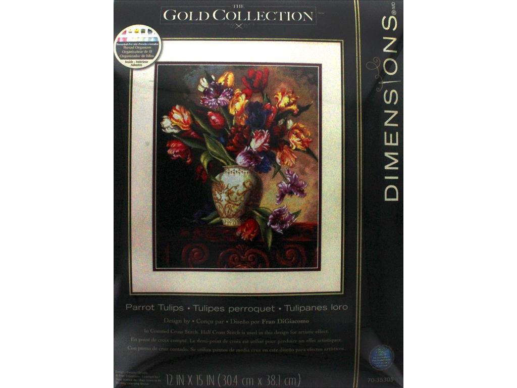 Dimensions Gold Collection Parrot Tulips Counted Cross Stitch Kit-12 X15