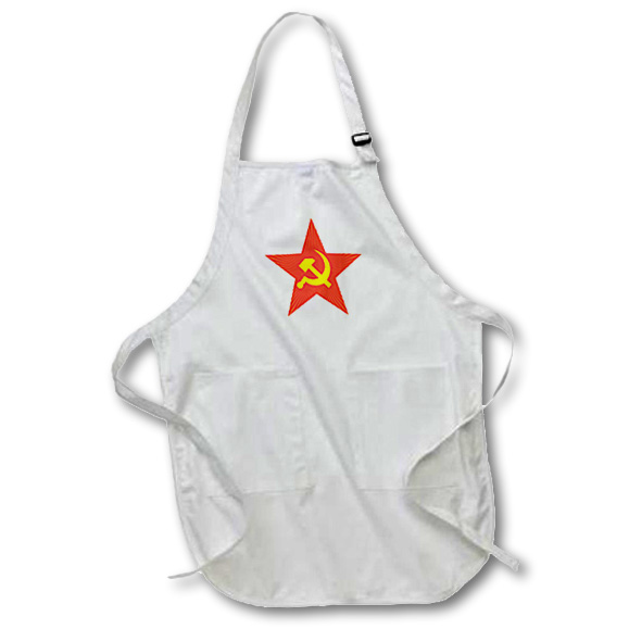 3dRose Soviet star, Medium Length Apron, 22 by 24-inch, With Pouch Pockets