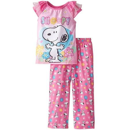 Peanuts Girl's Snoopy Short Sleeve Pajama Set, Kids Sizes 4-8, Pink, Size: 4T (Peanuts Pajamas)