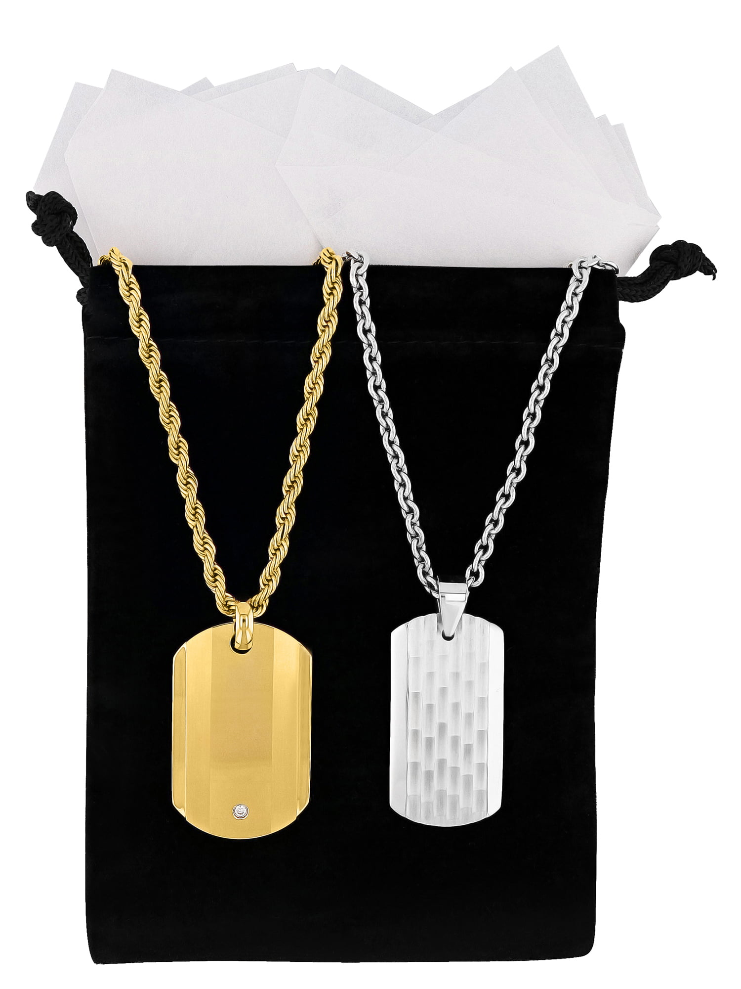 Bonyak Jewelry Stainless Steel Polished Black IP-Plated Flames Dog Tag Necklace in Stainless Steel