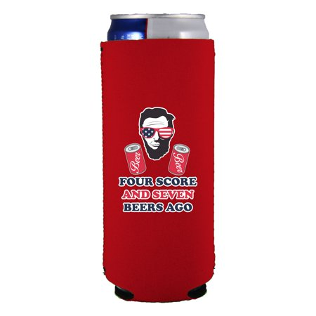 Beer Can 12 Oz Pull (Four Score and Seven Beers Ago 12 oz. Slim Can Coolie)