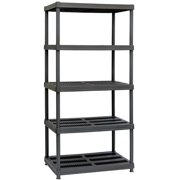 "Muscle Rack 36""W x 24""D x 72""H 5-Shelf Resin Shelving Unit, 750 lb Capacity, Black"