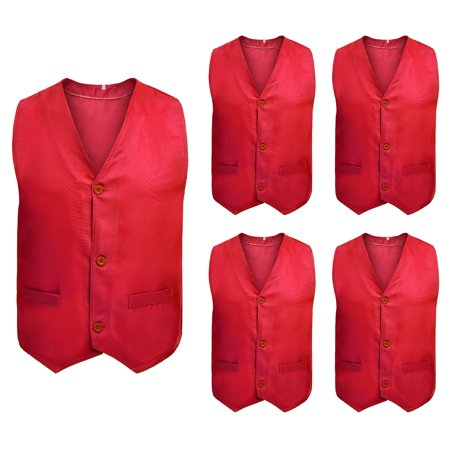 5 Packs Button Vest Twill Dressing Up Waistcoat Halloween Costume for Boys Girls-Red-4 - Halloween Dressing Up Origin