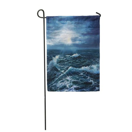 LADDKE Original Oil Painting Showing Waves in Ocean Sea on Canvas Garden Flag Decorative Flag House Banner 12x18 (Showing Waves)