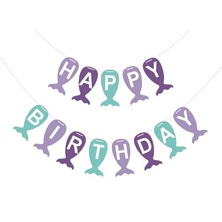 Purple Mermaid Tail Happy Birthday Banner For Party Decorations