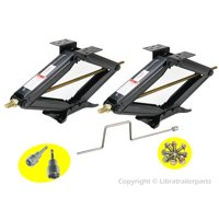 "Set of 2 5000 lb 24"" RV Trailer Stabilizer Leveling Scissor Jacks w/handle dual sockets & hardware"