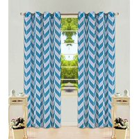 """1 Panel Chevron Teal Blue  Two-Tone Pattern Design Voile Sheer Window Curtain 8 Silver Grommets 55"""" W X 95"""""""
