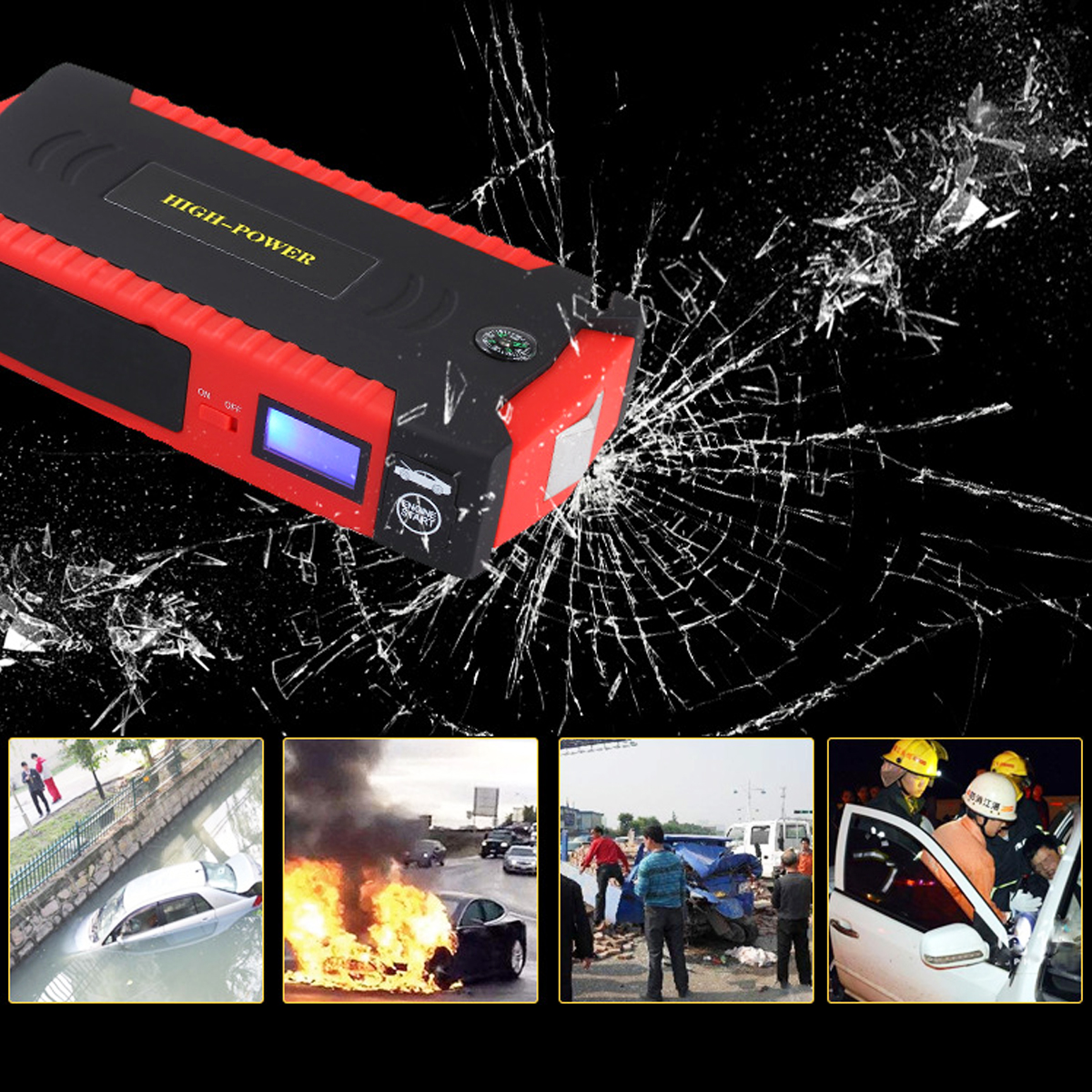 82800mAh Car Jump Starter 600A Emergency 4USB 12V Power Bank Battery Charger