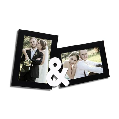 Adeco Decorative Black Wood 'and' Ampersand Hanging Picture Photo Frame with 2 Openings