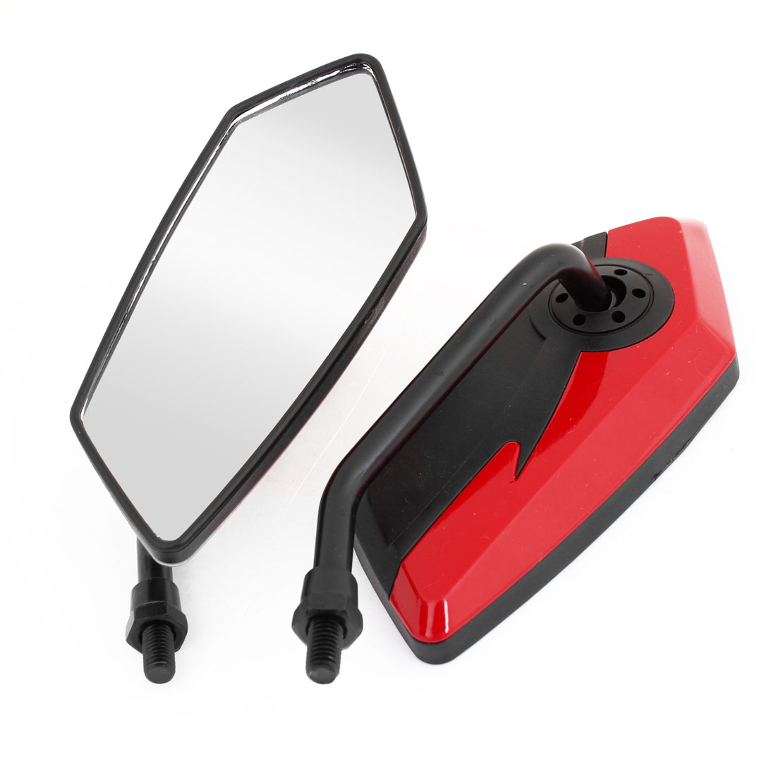2 x Motorcycle Black Red Plastic Casing Adjustable Rear View Blind Spot Mirrors