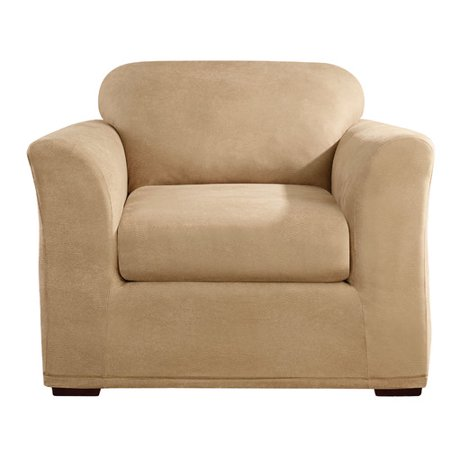 Sure Fit Stretch Leather Separete Seat Chair Slipcover, Camel