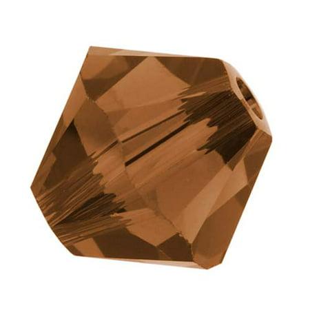 Topaz Swarovski Crystal Beads - Swarovski Crystal, #5328 Bicone Beads 6mm, 20 Pieces, Smoked Topaz