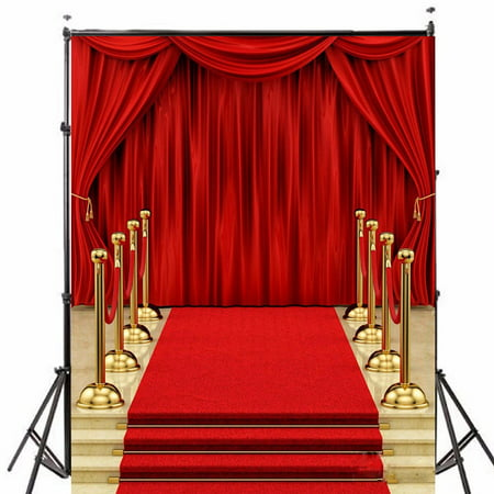 5x7FT Podium Red Carpet Curtain Wedding photography backdrops Photo Video Studio Props Vinyl Fabric Photography Backdrop Background ()