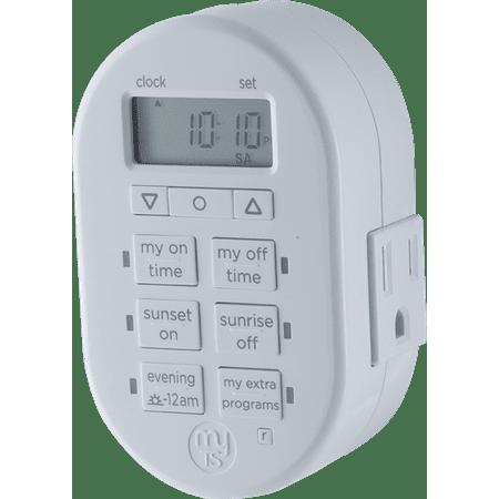 - myTouchSmart 2-Outlet Plug-In 7-Day SunSmart Digital Timer, 35150
