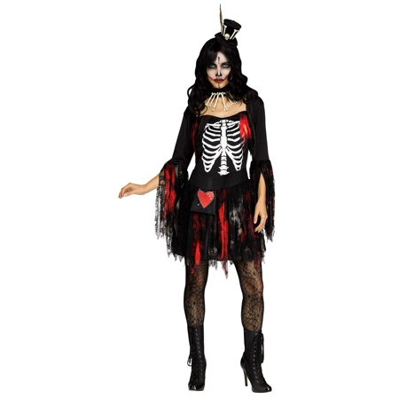Womens Lacey Day of the Dead Voodoo Skeleton Queen Dress Skirt Adult Costume - Queen Of The Dead