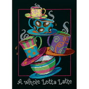 "Dimensions ""A Whole Lotta Latte"" Counted Cross Stitch Kit, 11"" x 14"""