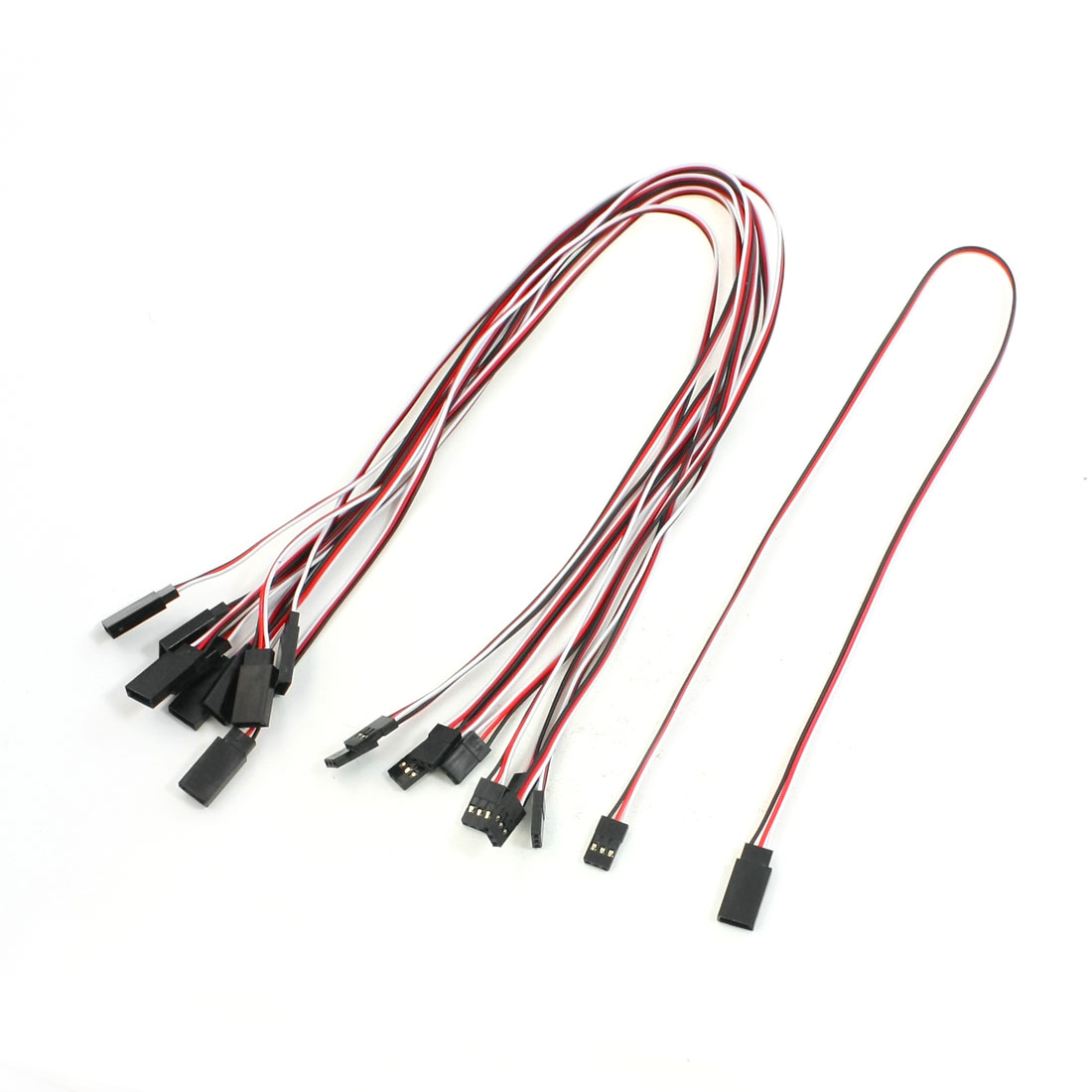 "Unique Bargains 10 Pcs 19.7"" Length RC Helicopter Part 3P M/F RC Servo Extension Cable"