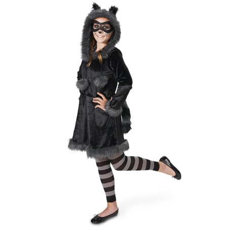 Raccoon with Tights Tween Costume, Juniors 5-9 - Raccoon Gloves