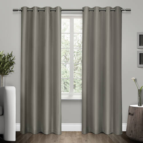 Exclusive Home Shantung Faux Silk Thermal Window Curtain Panel Pair with Grommet Top