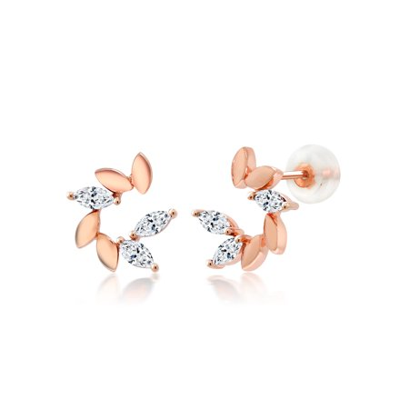 10K Rose Gold Stud Earrings Set with Marquise White Zirconia from Swarovski