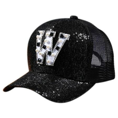 Casual Kids Girls Boys Letter Sequin Baseball Cap Flat Snapback Mesh Hat ()