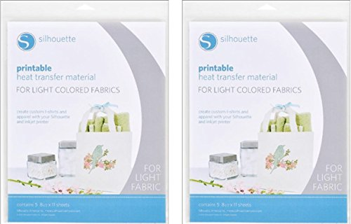 photo regarding Silhouette Printable Heat Transfer called Silhouette Printable Warmth Shift Information for Light-weight Materials (2 pack)