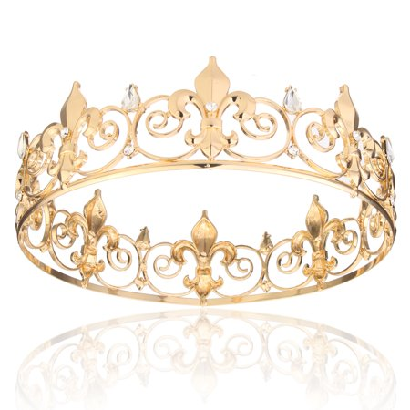 Full Circle Men's Crown Imperial Medieval Tiara Fleur De Lis Gold King Crown for Wedding Pageant (International Silver Golden Tiara)
