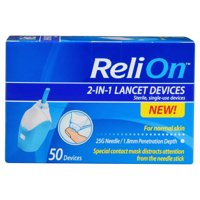 ReliOn 25 Gauge Needle 2-In-1 Lancing Device For Normal Skin, 50 Ct