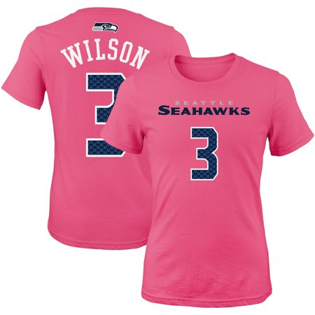 Russell Wilson Seattle Seahawks Girls Youth Mainliner Player Name & Number T-Shirt - Pink](Pink Seahawks)