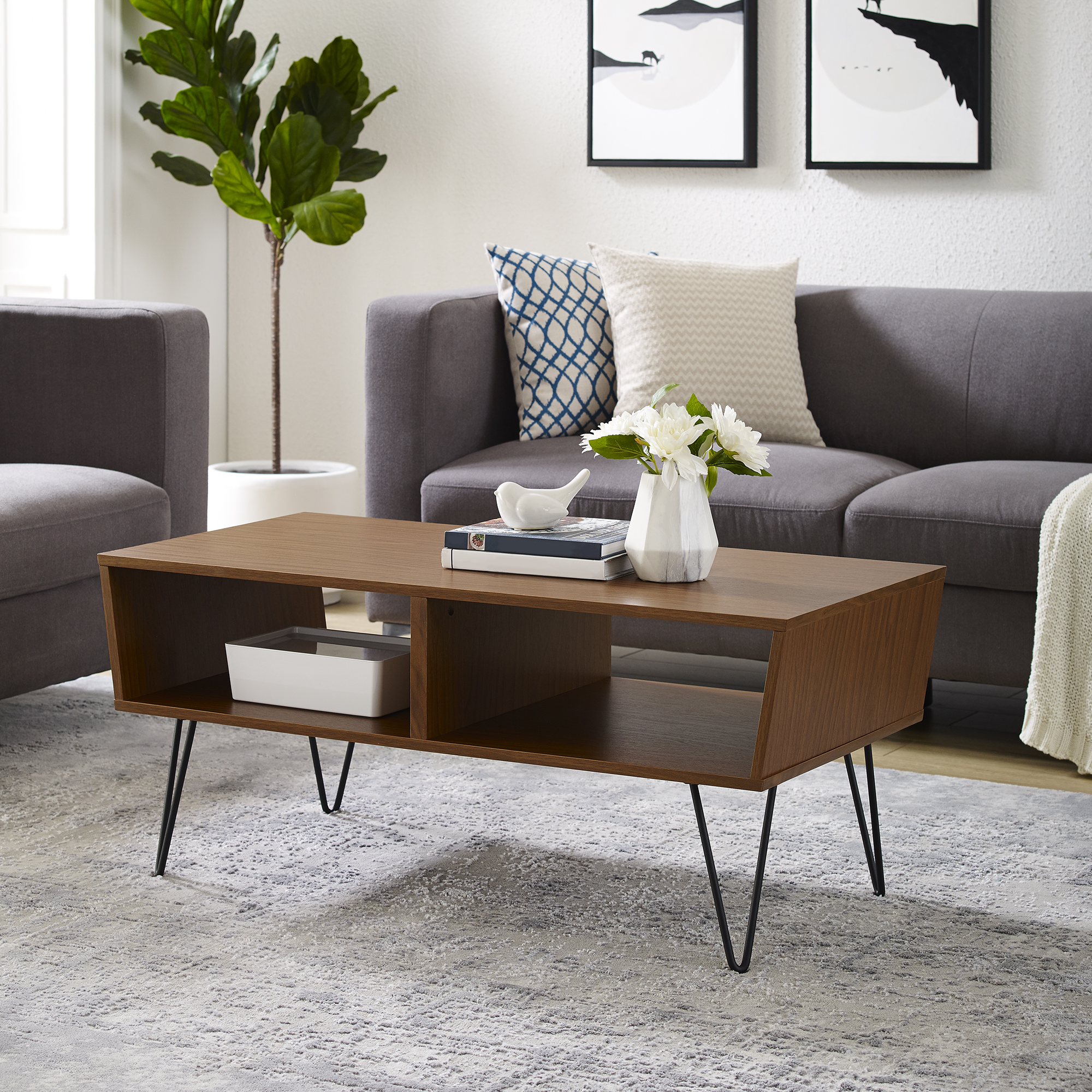 "Manor Park 42"" Mid-Century Angled Coffee Table with Hairpin Legs - Acorn"