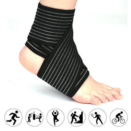 VGEBY 1 PCS Elastic Breathable Wrap Ankle Support Brace Compression Knee Elbow Wrist Ankle Hand Support Wrap Sports Bandage Strap with Hook & Loop Fastener Straps Suede Ankle Wrap