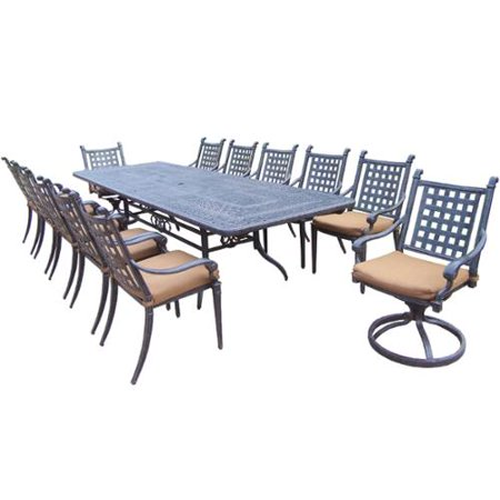 Oakland Living Corporation Dining Set with Extendable Table, Sunbrella Chairs and Swivel Rockers ()