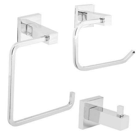 Tbest 3Pcs/set Chrome Bathroom Accessory Sets Toilet Roll Holder Towel Robe Hook Wall Mounted, Towel Robe Hook Set,Bathroom Accessory Set